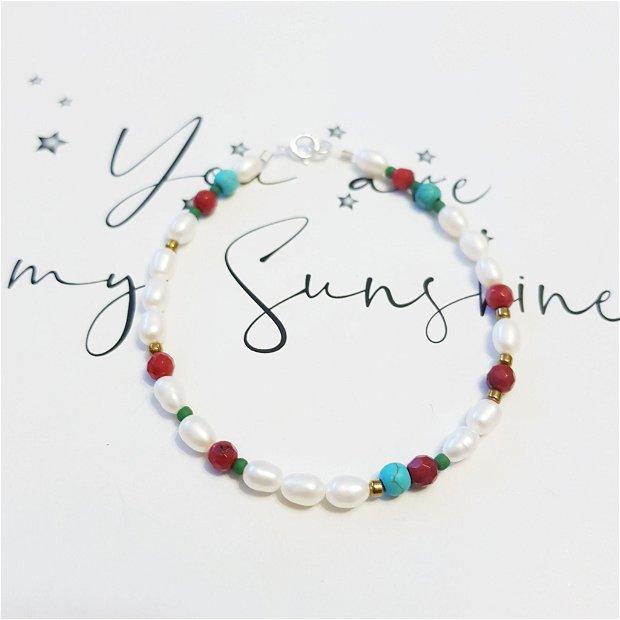 Bratara perle , coral , howlit, hematit, inch argint