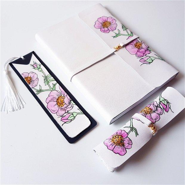 SET cu măceșe - piele naturală: jurnal, penar, stilou, semn de carte