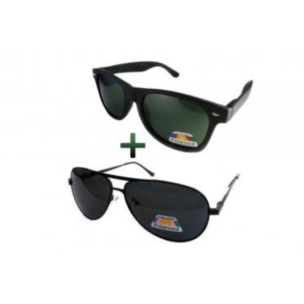 Set ochelari de soare polarizati: ochelari Wayfarer Nerd+ochelari aviator negri