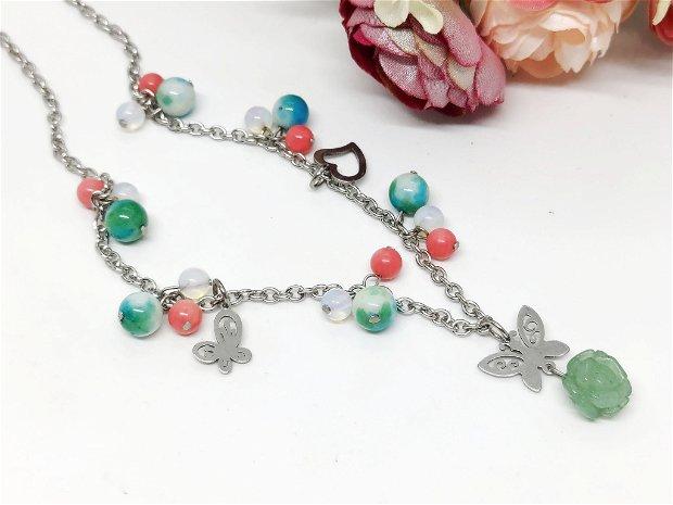 Colier inox /jad ,coral ,opalit si floare aventurin verde