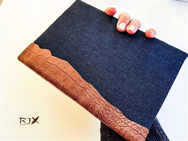 Jurnal cu piele naturală și material de blugi