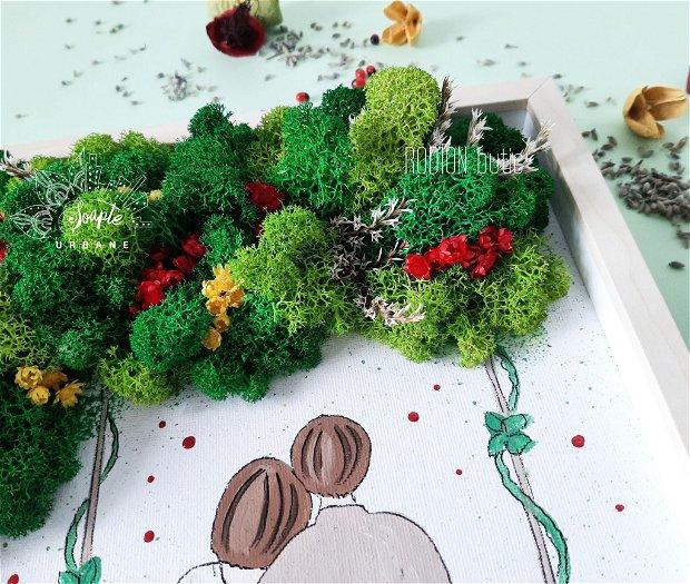 Tablou copac cu licheni stabilizati cuplu personalizat pictat manual