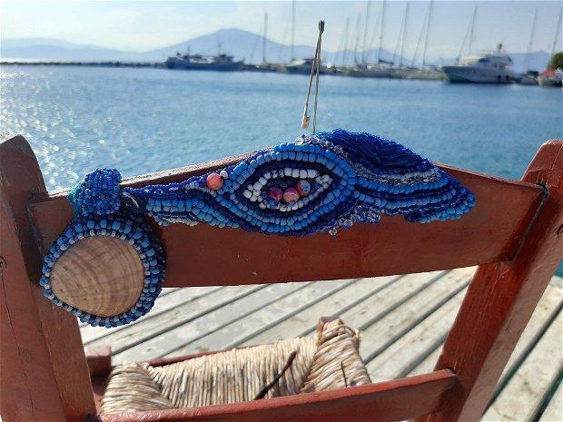 Set albastru marin. Brățară și scoică cu mărgele