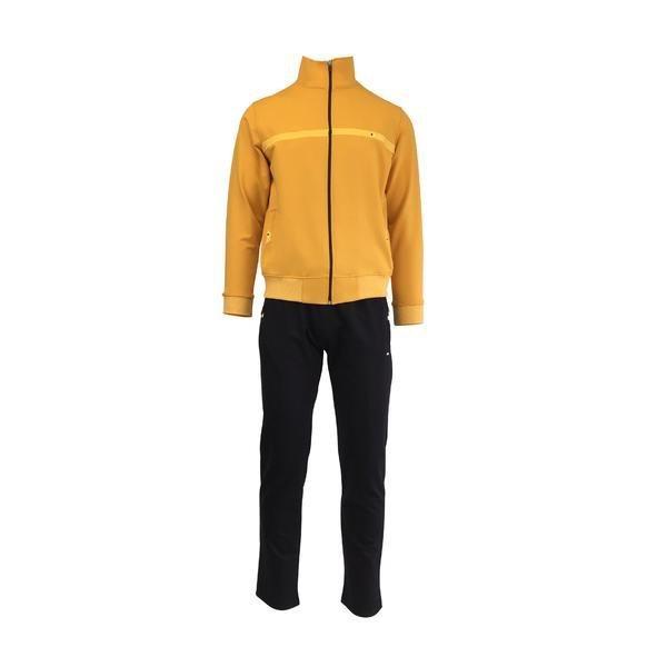 Trening barbat, Univers Fashion, jacheta galben, cu 2 buzunare cu fermoare, pantaloni negru cu 3 buzunare cu fermoare, L