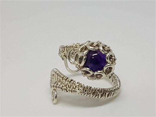 Inel reglabil,inel din argint ,inel cu ametist