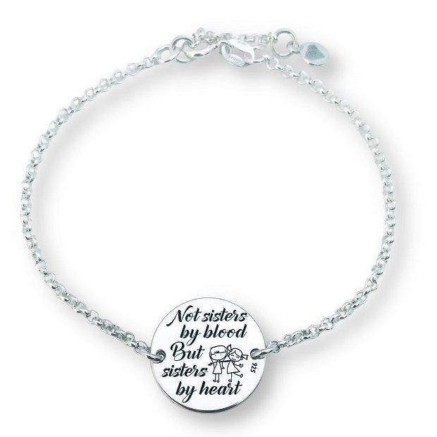 Sisters by Heart - bratara argint personalizata