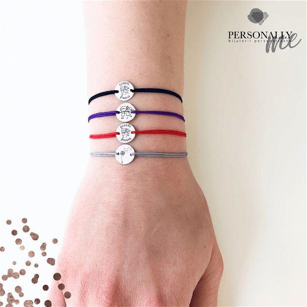 Be Loved - Bratara personalizata argint, snur reglabil, gravata Simbol / Mesaj