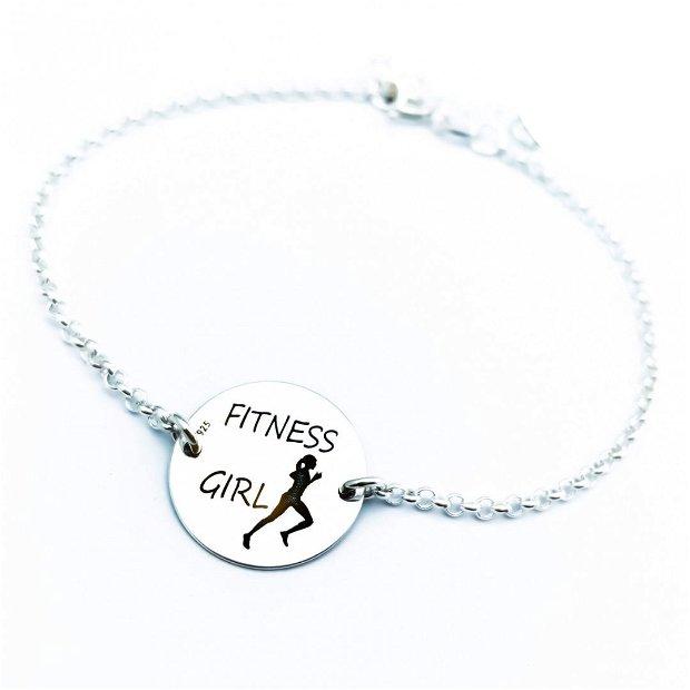 Fitness Girl - Bratara argint personalizata cu cristal Swarovski