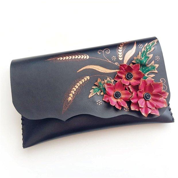 poseta plic handmade unicat din piele - Magenta Flowers