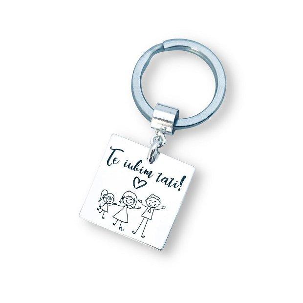 Te iubim Tati- Breloc personalizat - breloc pandantiv argint