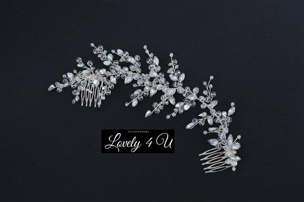 Amalya- Diadema mireasa, Accesoriu de păr cu cristale și pietricele