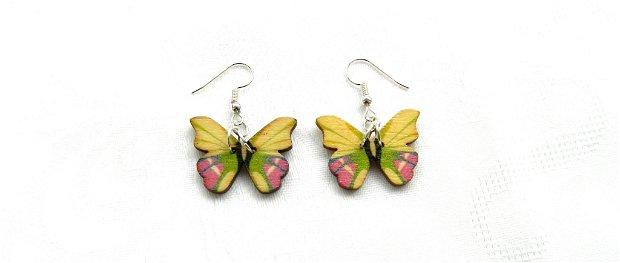 Cercei fluturaşi lemn galben-verde-roz