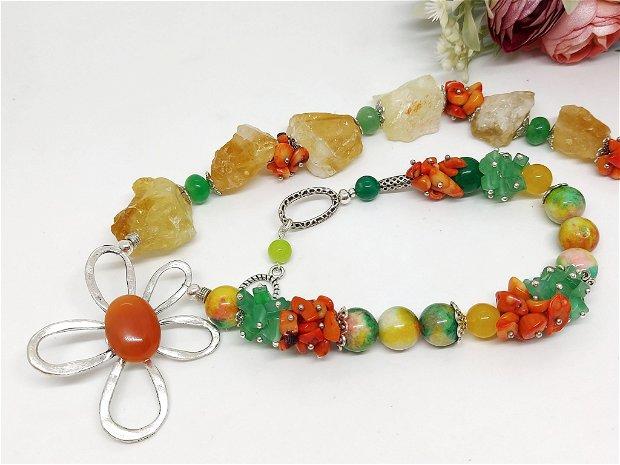 Colier asimetric floare zamac cu citrin brut ,jad si coral