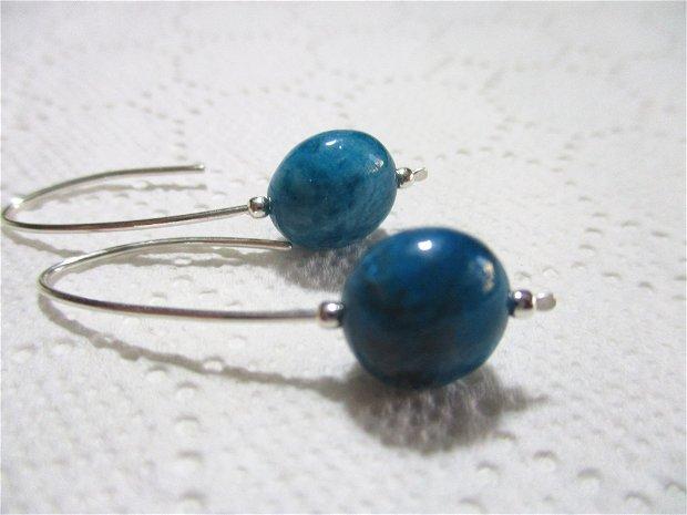 Cercei argint si apatit albastru, cu tija lunga