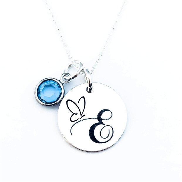 Initiala Nume - colier personalizat argint - monograme - banut argint