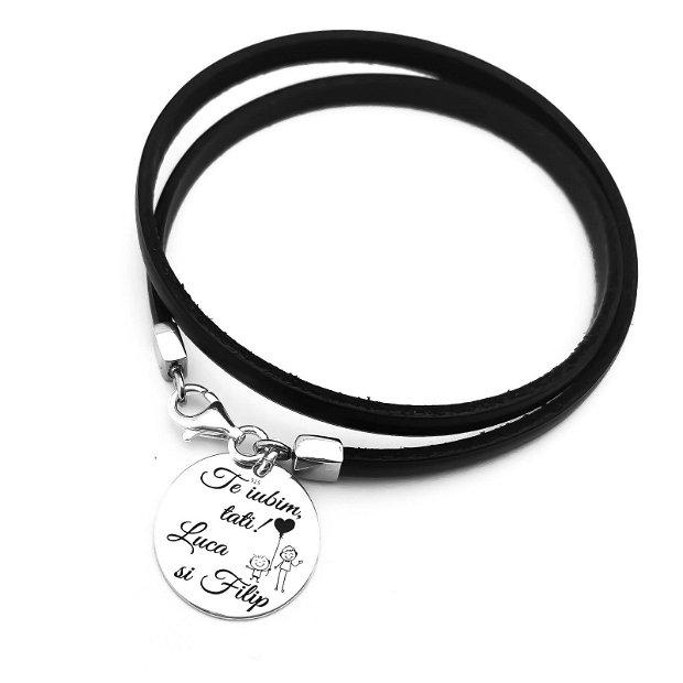 Leather for Him - bratara personalizata tatici - bratara argint mesaj - bratara pentru el