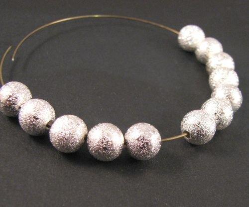 9210 - (60buc) Margele metalice stardust, argintiu, sfere 8mm