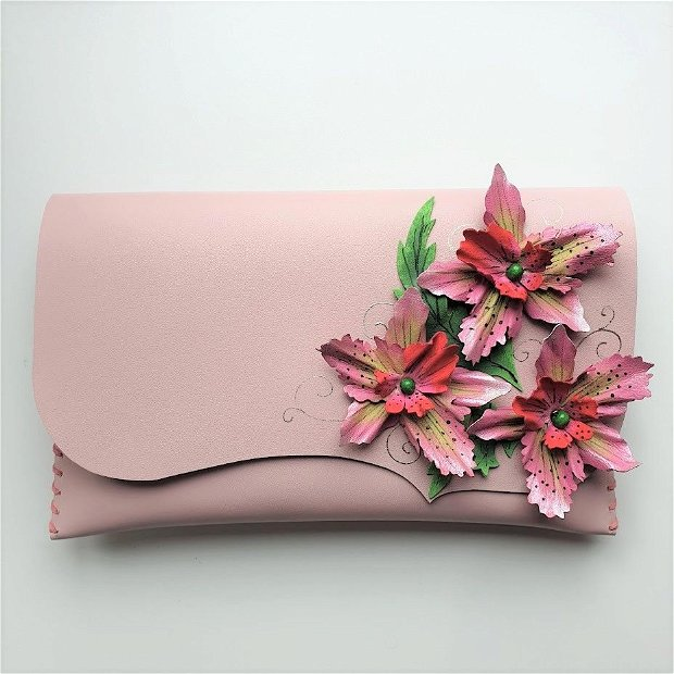 poseta plic handmade unicat din piele - Orchid