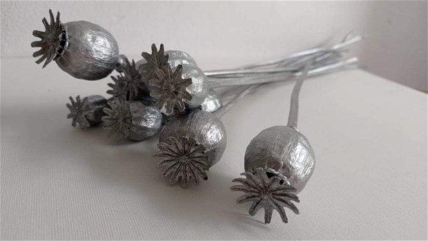 Mac uscat, stabilizat și vopsit, Argintiu-40 cm,10 fire