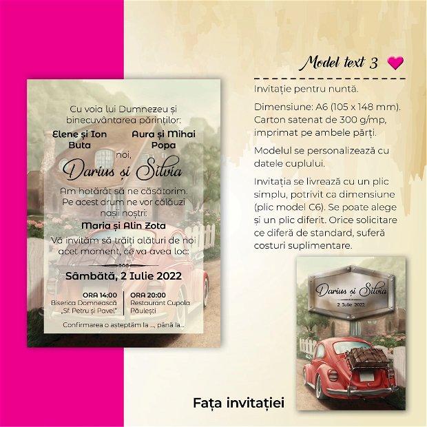 Invitatie nuntă - MAȘINĂ