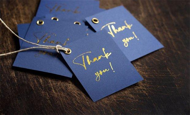 Etichete Thank you - Indigo & Auriu - [5 buc]