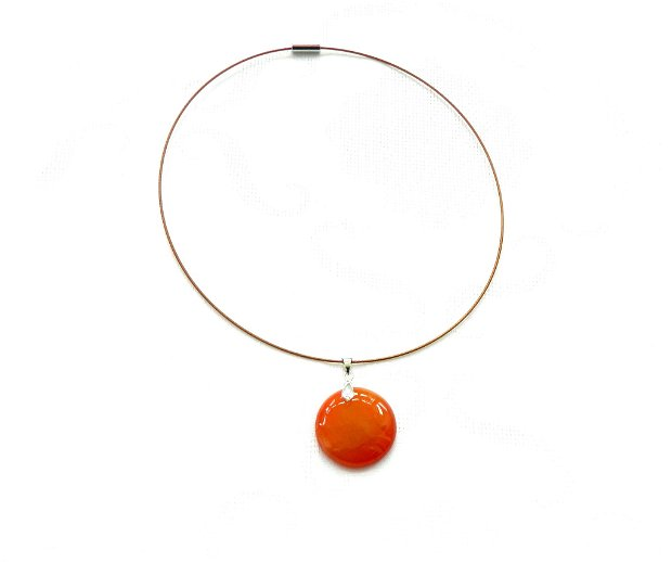 Colier cu pandantiv rotund din agat orange