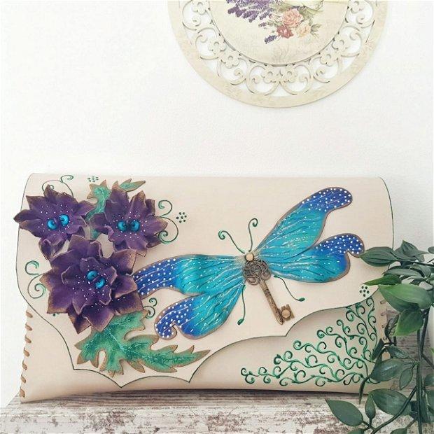 Poseta plic handmade unicat din piele naturala - Summer Dragonfly