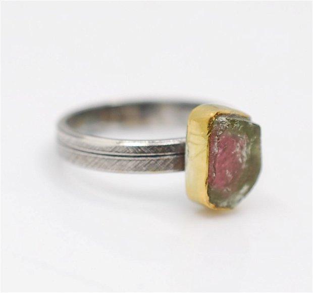 Inel turmalina watermelon cu argint si profil gold-filled