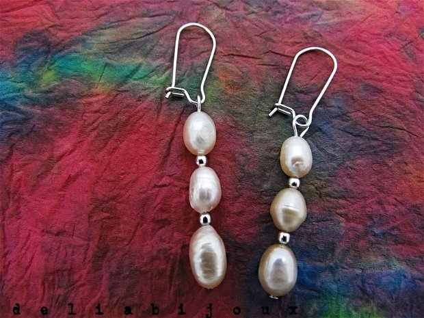 Cercei perle naturale de cultura si otel inoxidabil