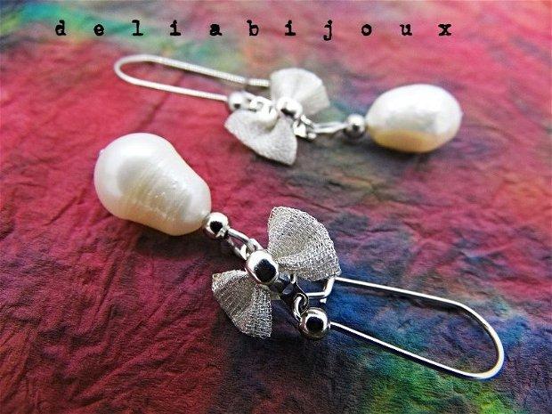 Cercei perle naturale de cultura si otel inoxidabil (II)