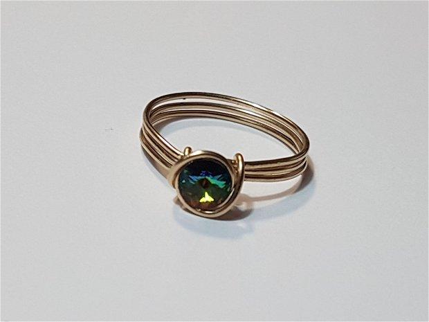 Inel din aur filat, inel cu cristal swarovski, inel handmade.