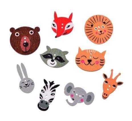 Nasturi: urs, iepuraș, elefant, zebră, raton, girafă, vulpe, leu, pisică