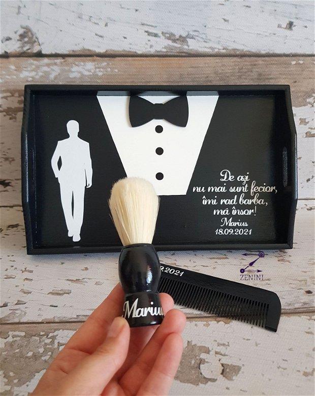 Set gatitul mirelui, set nunta mire, set barbierit mire, set tava mire, set nunta barbat, tava mire