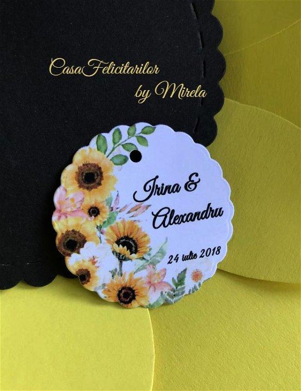 Etichete marturii nunta/etichete marturii botez floarea soarelui