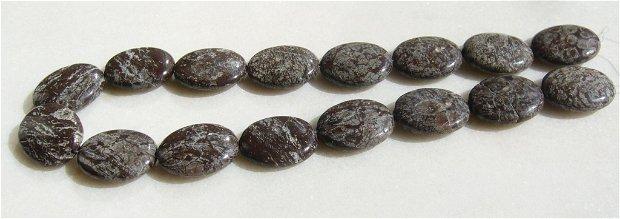 Brown snowflake jasper (provenienta America)  sirag aprox 40 mm (16 bucati) - fara inchizatoare