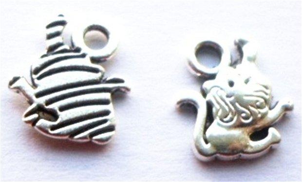 Charm figurina zodiac Leu mic argintiu