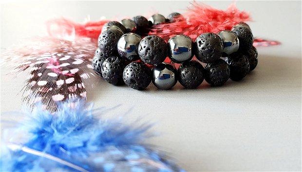 Brățări Black Edition - Hematit&Lava