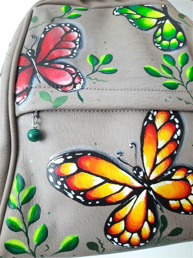 Rucsac pictat - Fluturi in culorile toamnei