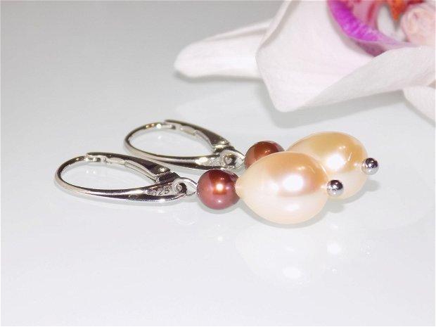 "Cercei"" Peach Pearls"""
