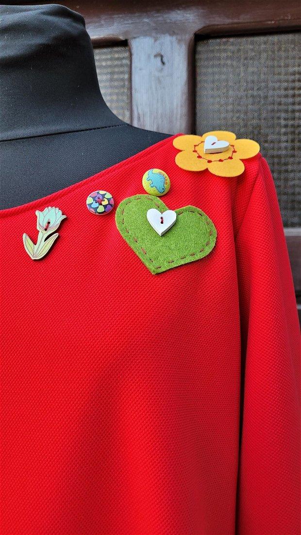 Rochie pentru toamnă, soare, flori și inimi colorate