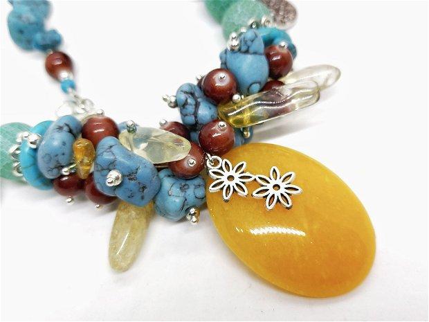 Colier semipretioase colorate/turcoaz,citrin si agat cu pandantiv jad galben