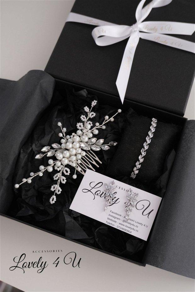 LAUREN - Diadema mireasa cu pietricele, perle si cristale
