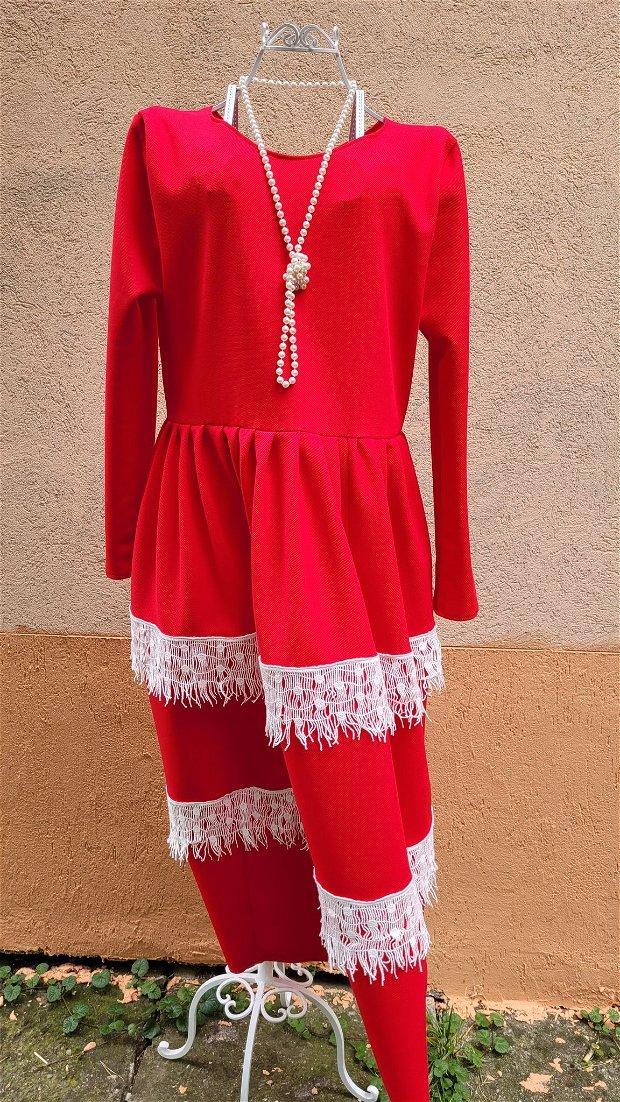 Rochie  din jerse, din jerse roșu pentru toamna iubirii