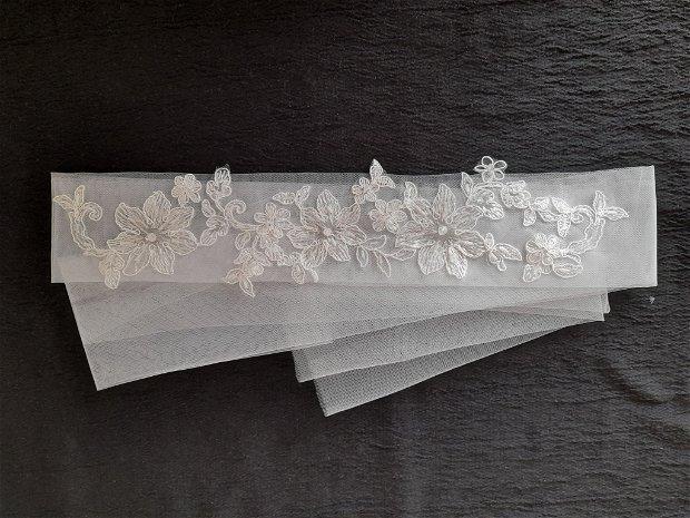 Esarfa mireasa dezgatit ivory/brau model 61