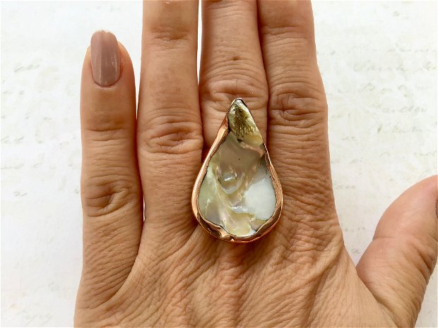 Inel cupru & perla baroc