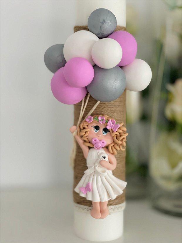 Lumanare fetița cu baloane