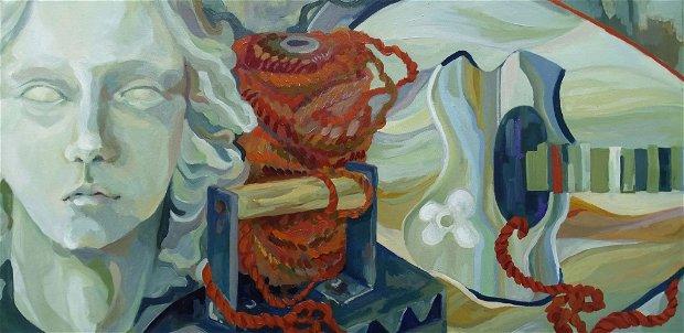 Tablou Compoziție cu mandolină și portret antic pictură în ulei pe pânză
