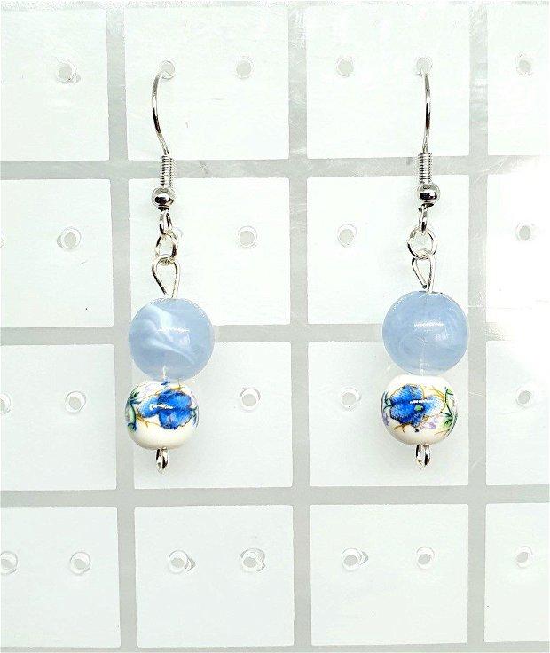 Cercei Blue Flowers Porcelain