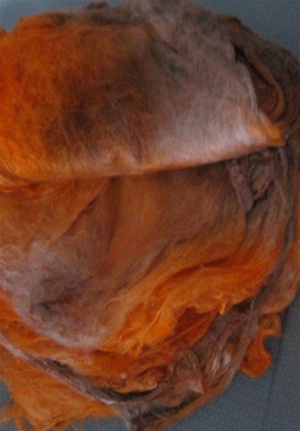batiste/patrate de matase-portocaliu cu maro