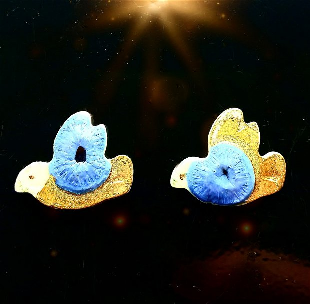 Cercei din portelan si sticla, pictati cu luster de aur si tortite+dopuri din argint - WATER BIRDS